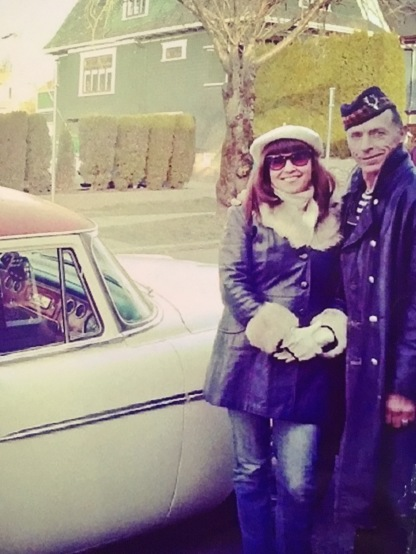 With my husband and our '55 Savoy. Photo by Helen Siwak.